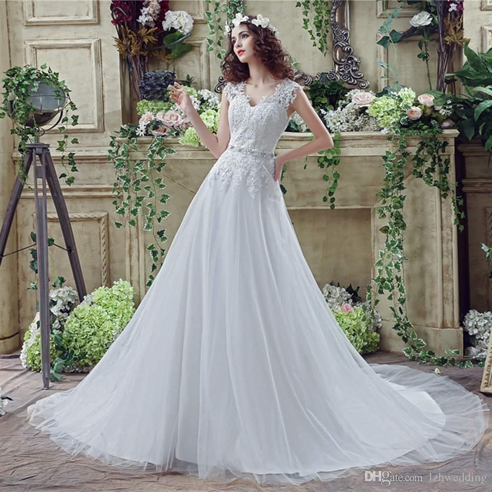 The New Design 2018 V Neck Lace White Wedding Dresses Princess Bride ...
