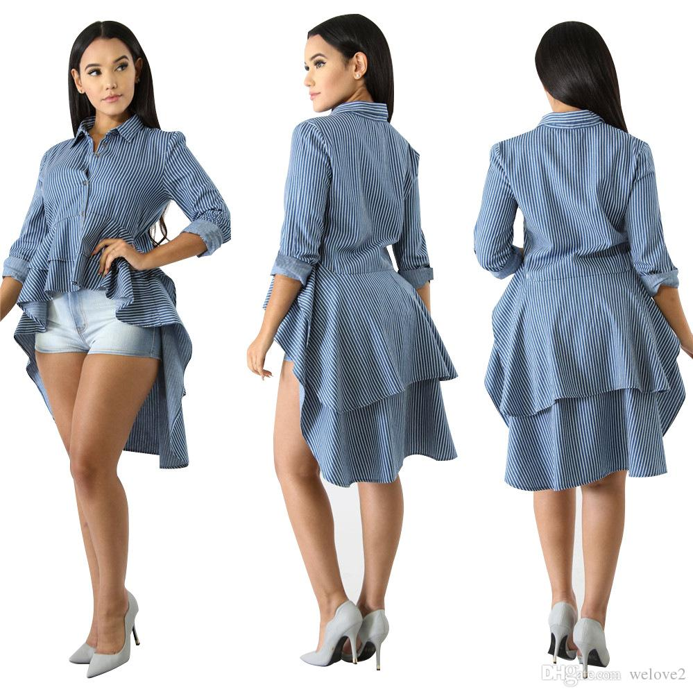 fed5de06319 Women Blouses Long Sleeve Front Short Back Long Print Shirts Turn ...