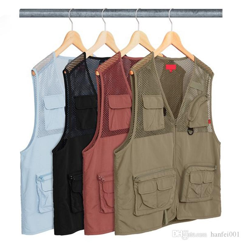 18ss Mesh Cargo Vest BOX LOGO Vests High Quality Fashion Outerwear Men Women Couple Tooling Vest HFLSJK149