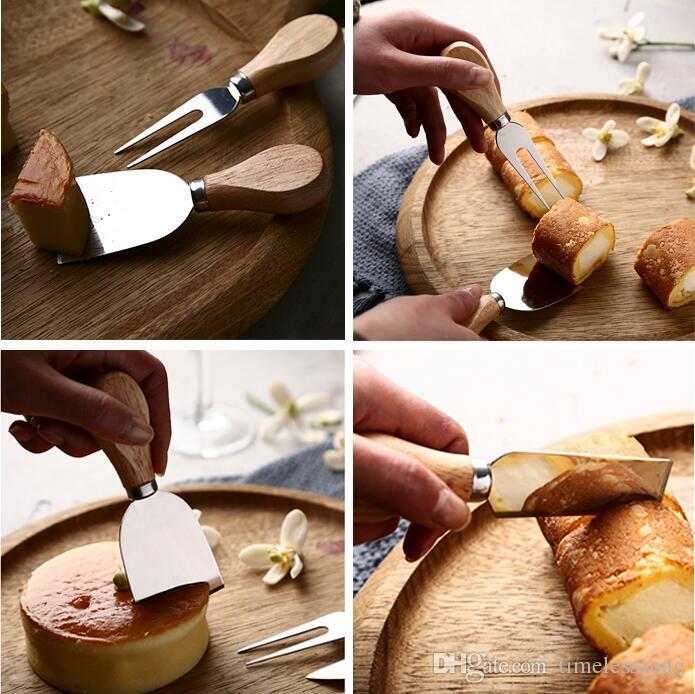 Wholesale a set wood handle cheese knife slicer kit kitchen cook tools cake pizza cheese cutter useful accessories free ship