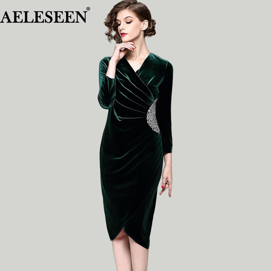 y La s Bodycon Velvet Luxury Dresses 2018 Winter New Green