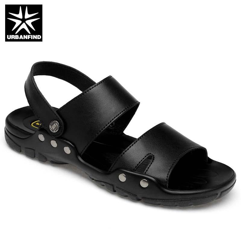 b33b4b887 Big Size 38 50 Casual Black Men Sandals Summer Slides Men Slippers Rivet  Beach Sandals Split Leather Lazy Pedal Flip Flops Bridal Shoes Cheap Shoes  From ...