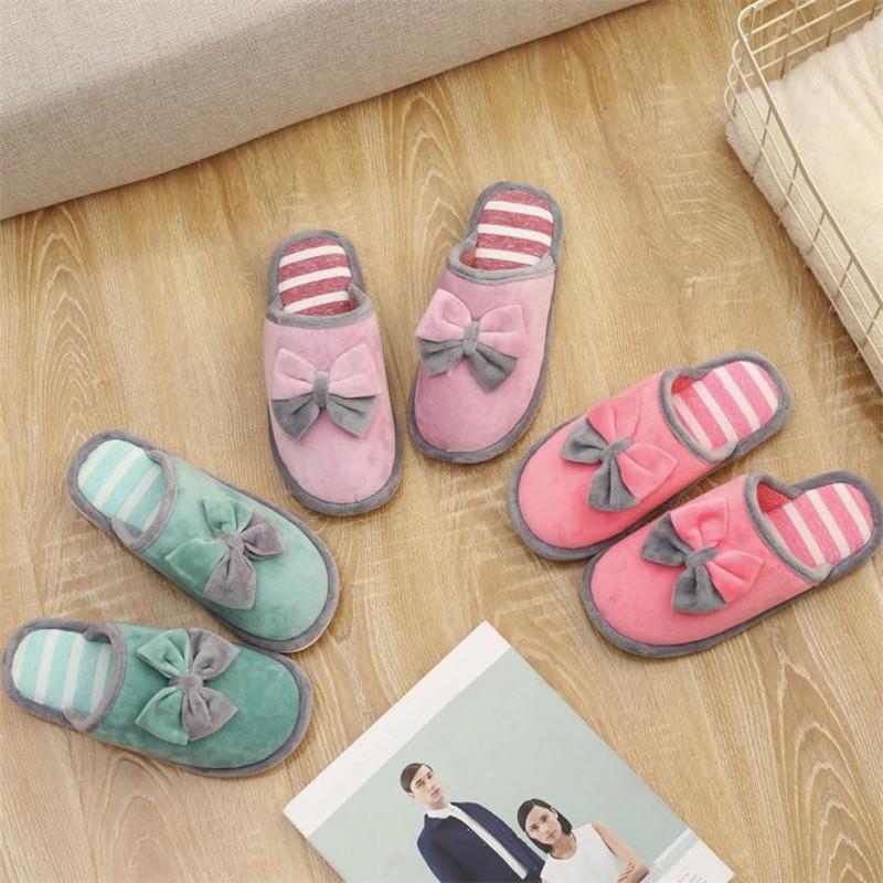 dc83d7459b3 Women s Bow Tie Indoor Slipper Home Anti Slip Winter Soft Warm Shoes Non  Slip Floor House Furry Slippers Women Shoes For Bedroom Slipper Boots  Slipper Socks ...