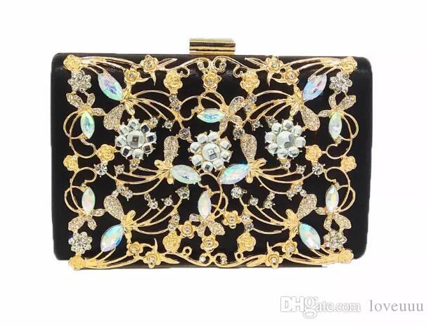 Women Fashion Crystal Clutch Evening Bags Black Satin Metal Flower ... 38be1b7d159b