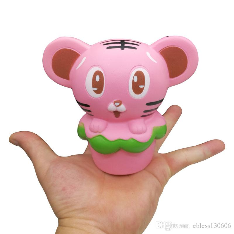 Squishy Pink Tiger Burger Slow Rebound Imitation Animal Super Cute Decorative Furnishing Articles Squishies Squeeze Cartoon Toys