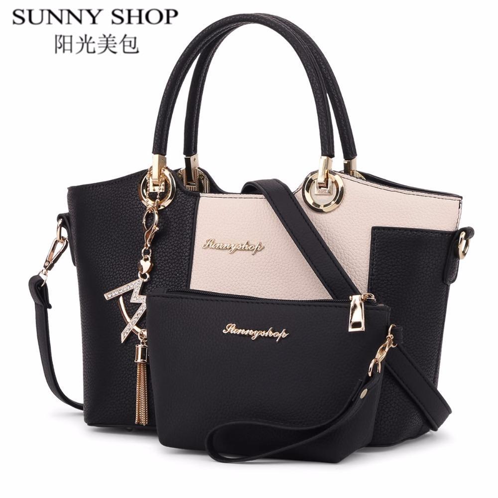 e67a17d56258 SUNNY SHOP Luxury Leather Bags Handbags Women Famous Brands Shoulder ...