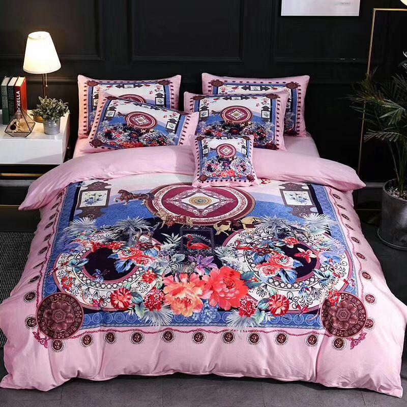 Großhandel Drucken Kreis Blumen Design Bettwäsche Anzug Volle Blumen