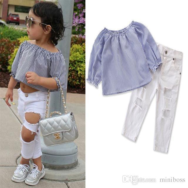 37c62b95f527 2019 Toddler Kids Baby Girl Clothes Off Shoulder Stripe Tops Denim ...