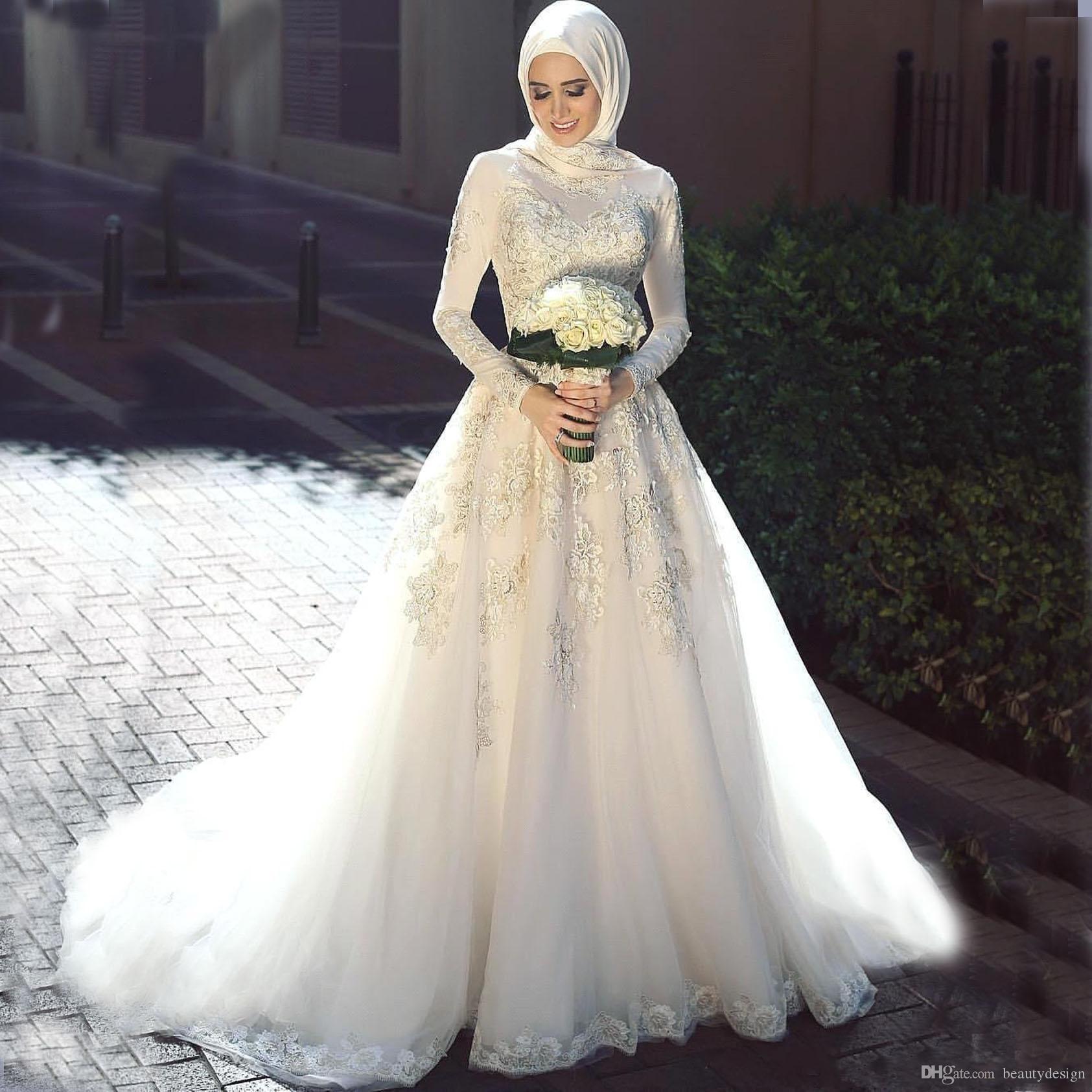 Discount Saudi Arabic Muslim Wedding Dresses Elegant 2018 High Neck Lace  Long Sleeves Sweep Train Appliques Vintage Pakistan Bridal Gown BA810  Wedding ... dd23d315d1f4