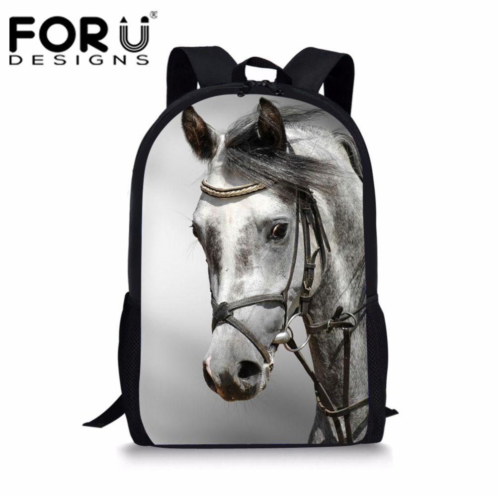 968875d513 FORUDESIGNS School Bag For Teenager Girls Primary Students Schoolbag Cool  White Horse Children Book S Vintage School Bag Leather Backpack Laptop  Backpack ...