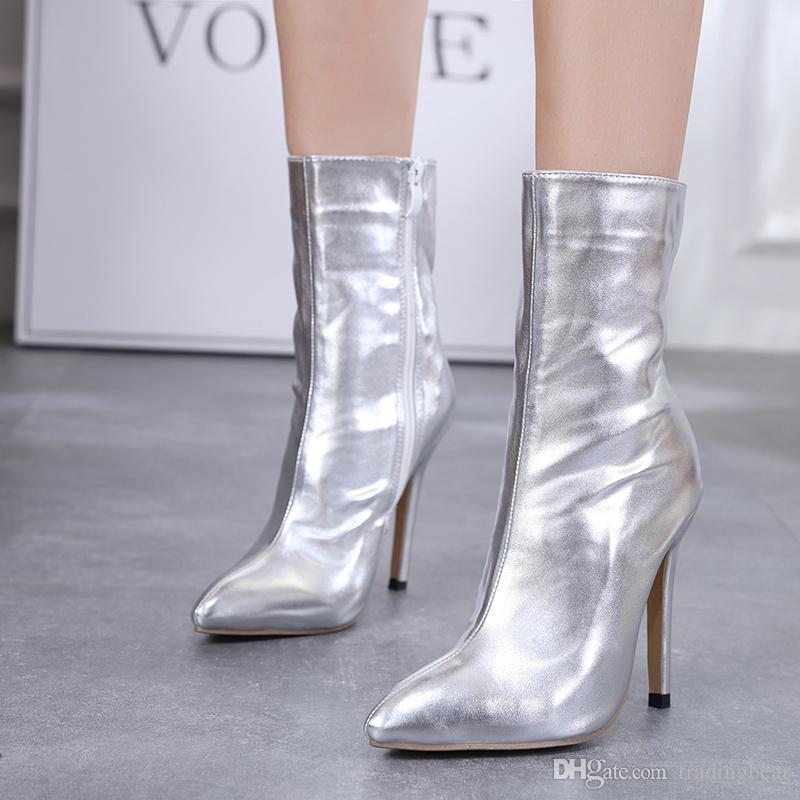 417b4b0deb9 Stylish shinning silver high heel wedding boots women designer shoes party  club wear 12cm size 35 to 40