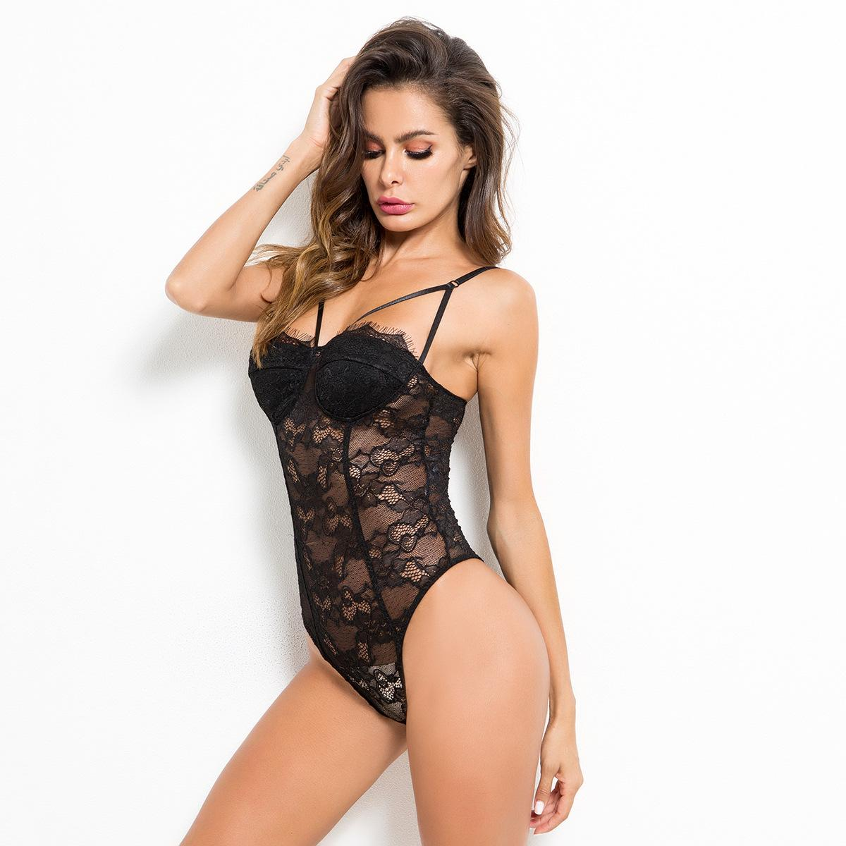 25f5f9c4718 New Women s Lace Sexy Bodysuit 1 2 Open Bra Floral Lace Erotic Teddy  Lingerie for Ladies See-through Strap Sexy Underwear