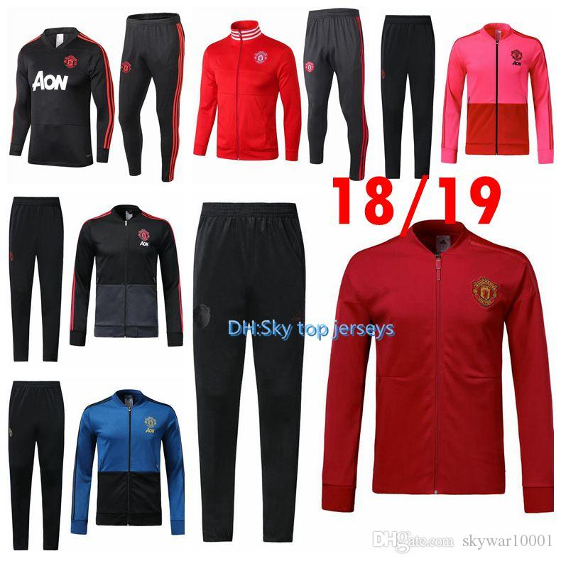 ec1441f65 2019 2018 19 Manchester United Tracksuit Survetement VESTE SET POGBA  Football JACKET Kit Soccer Chandal LUKAKU Full Jscket Pant Sweater Suit  From ...