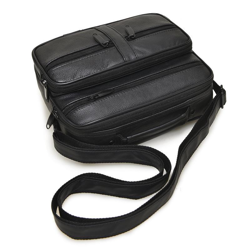 Boutique! La última tendencia de moda del bolso de hombre de cuero genuino de alta calidad del clásico bolso de hombro de piel de oveja bolsa de mensajero pequeño viaje