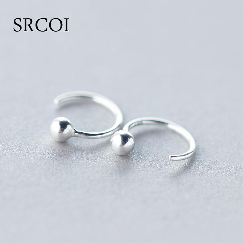 1a28de815fb31 whole salePersonalized Fashion 925 Sterling Silver Earrings Hoop With Tiny  Silver Ball Earrings Round Hoops Small Hoop For Women