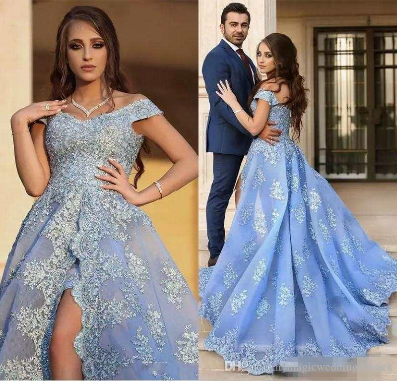 2018 Light Blue Arabic Evening Dresses Women Engagement Dress With Lace Applique Sexy High Slit Prom Dress Robe De Soiree Longue Dubai Gowns