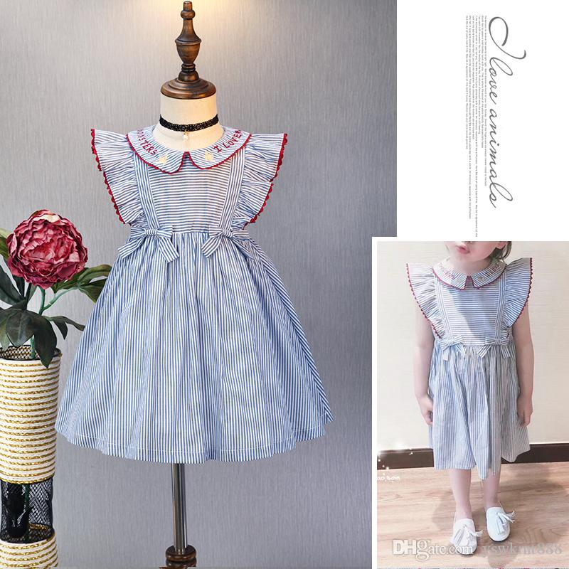 f3907255e9 Children Wear Summer Princess Sleeveless Striped Bow Dress Pure Cotton  Fashion Child School Girl Student Uniform Sweet Dress Adorable Sleeveless  Online with ...