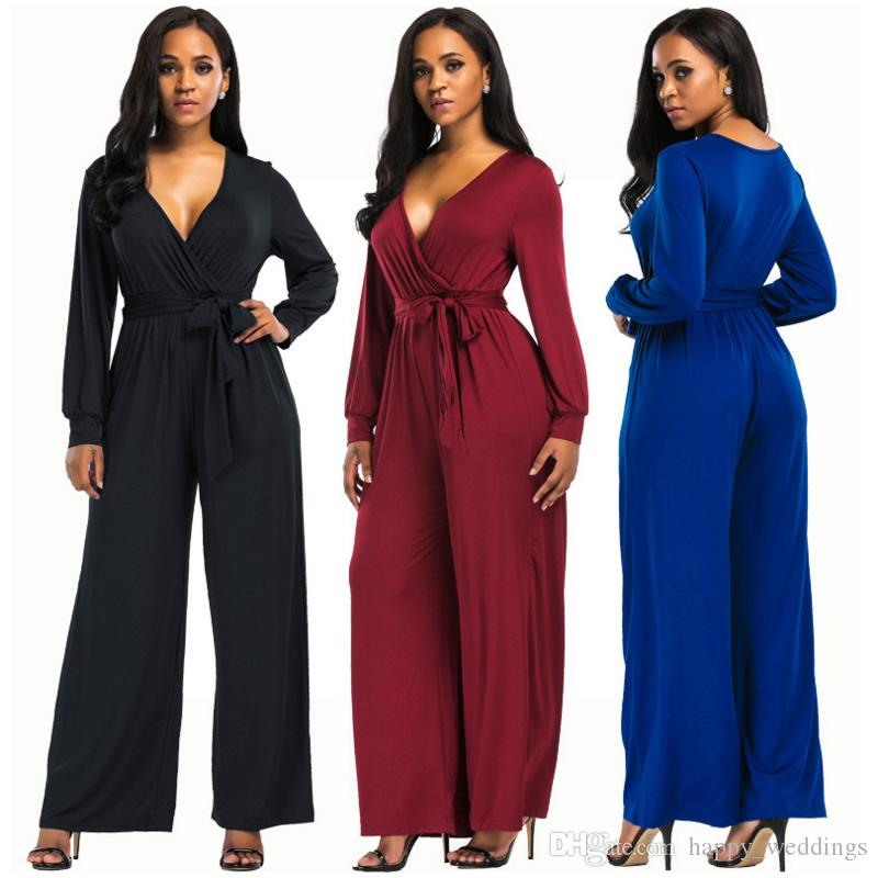 e703f76b7e 2019 Big Size WOMEN Summer Office Jumpsuit Romper 2018 One Piece Long Pant  Loose Elegant Blue Black Trouser Dungarees Macacao Overall From  Happy weddings