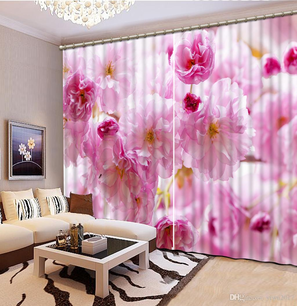 European Sheer Curtains Elegant Flowers Curtain For The Living Room Bedroom Pink Blackout Window Curtains