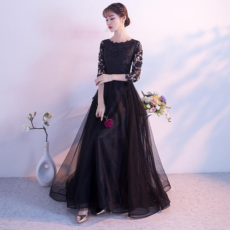 34 Sleeves A Line Black Evening Dresses Prom Gowns Lace Bodice