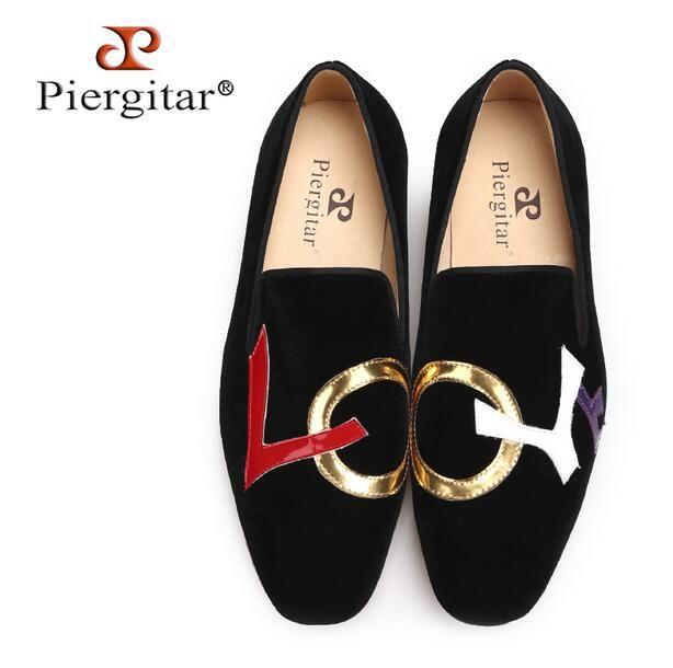 Luxury Brand Piergitar Handmade Black Velvet Shoes with LOVE Letters Design  Fashion Valentine s Day Party And Wedding Men Loafers Big Size Valentine s  Day ... adbf993bd25b