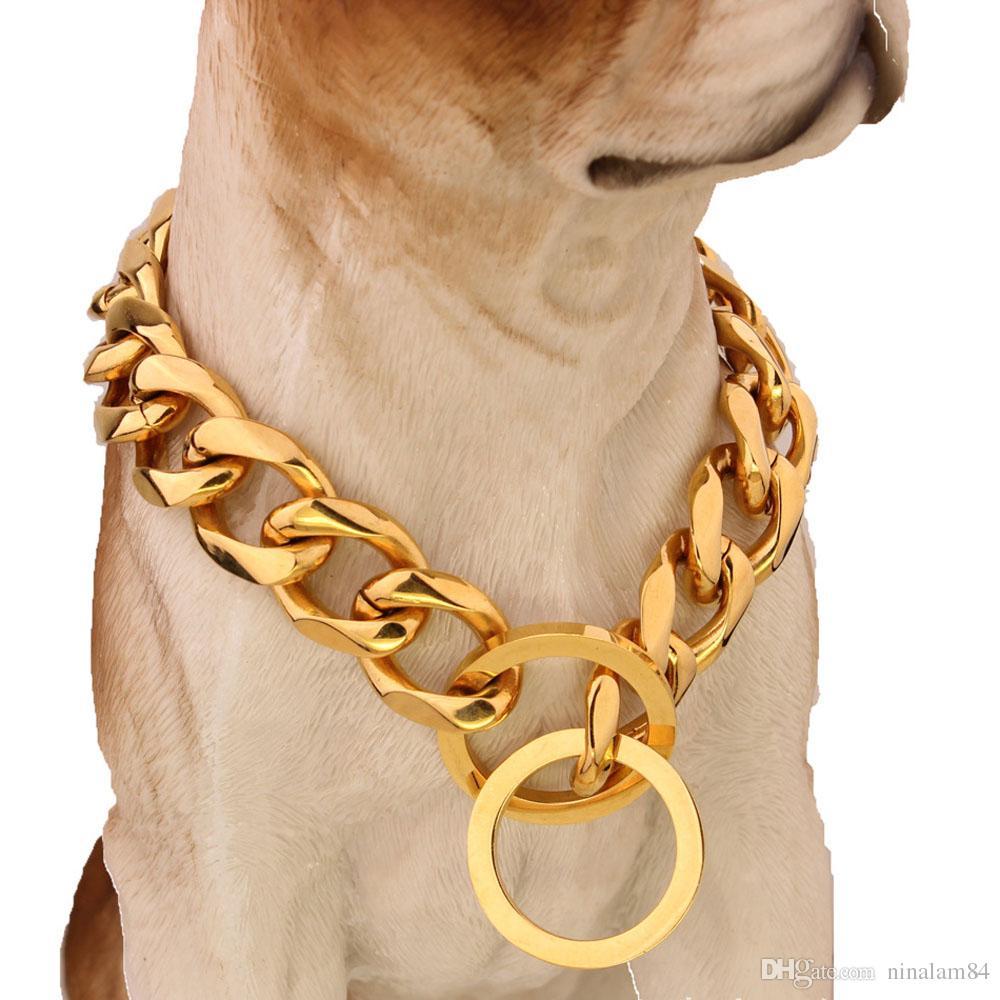 Top Qualität 19mm 12 ~ 34 Zoll Gold Silber Ton Doppel Bordstein Kubanische Haustierlink Edelstahl Hund Kettenkragen Großhandel Haustier Halsketten