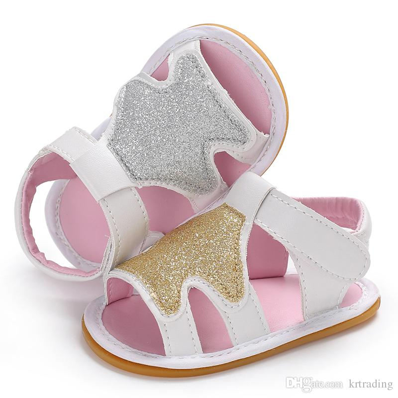 b60b59c5b477 2019 Baby Girls Xmas Tree Pattern Sandals Toddlers PU Summer Shoes Gold  Silver 3 Sizes Infants Glitter Solid Color Anti Slip Soft Sole From  Krtrading