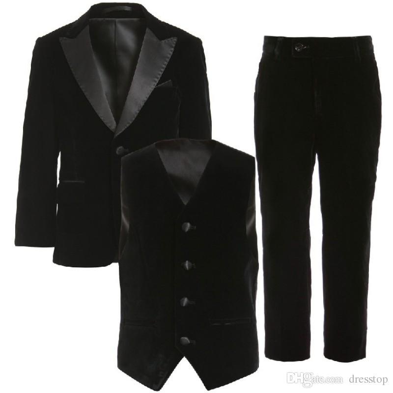 3 Parça Gençler Smokin Custom Made Boys Parti Resmi Pantolon Takım Elbise Takımları Düğün Damat Smokin Boys Için Ceket + Pantolon + Yelek + Papyon