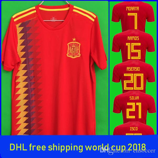 a70eb6e1aa2 2019 Top Thai New Russia World Cup 2018 Spain Soccer Jersey DHL To The  Usa