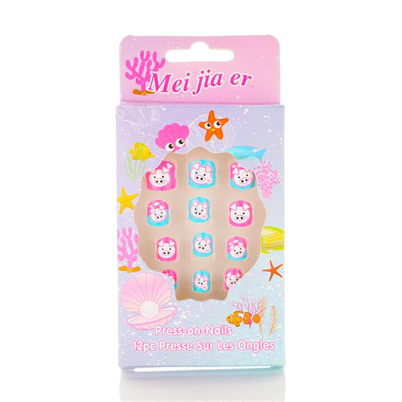 Free Shipping 6 Boxes MJE Children Nail French Pre-glue Press on Nail Tips Pig Design Short Pretty Nails For Kids ABS Material