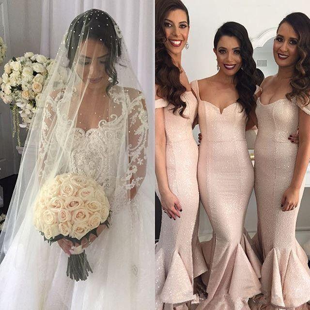 2018 Mermaid Bridesmaid Dresses Prom Dresses Blush Sequined Bridesmaids Dresses Wedding Guest Dress Off Shoulder Split Side Tier Custom Made