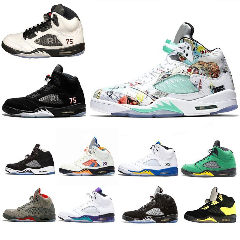 9ff5e358fb7e1a Acquista 2018 New Wings Nike Air Retro 5 5s Jordan Mens Scarpe Da Basket  PSG Black White Grape Laney International Flight Fresh Prince Oreo Sneakers  ...