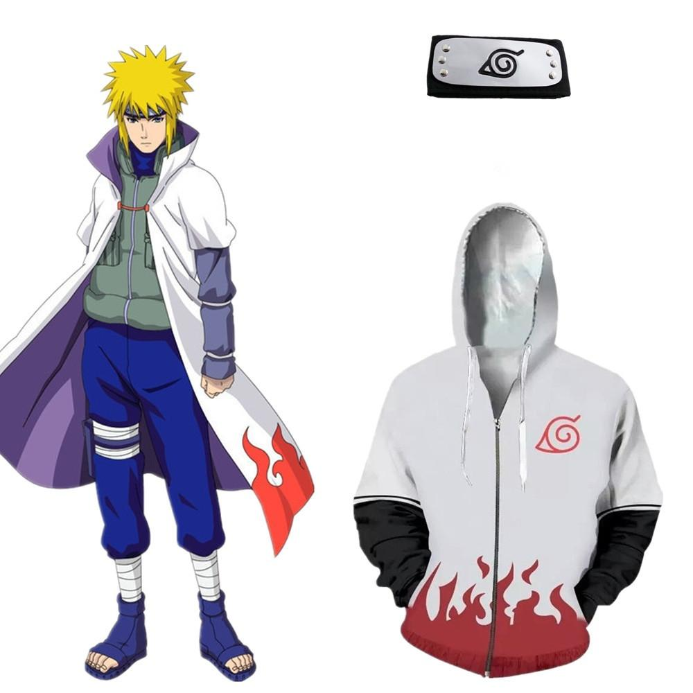 Asian Size Japan Anime Uzumaki Naruto Halloween Zipper Hokage Cosplay White Soft Long Sleeve Unisex Costume Hoodie Headband