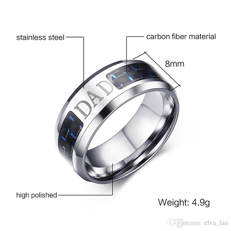 Father's Day Jewelry Gift Lucky Tree Fish Mens Rings 8MM Wide Stainless Steel With Blue Carbon Fiber Family Love For DAD Rings