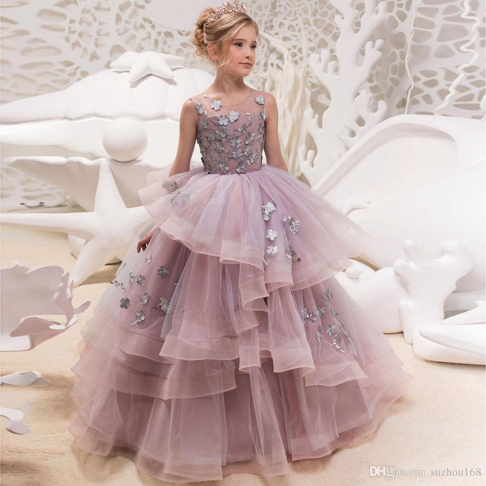 New Beautiful Tulle Flower Girls Dresses Applique Sleeveless Round