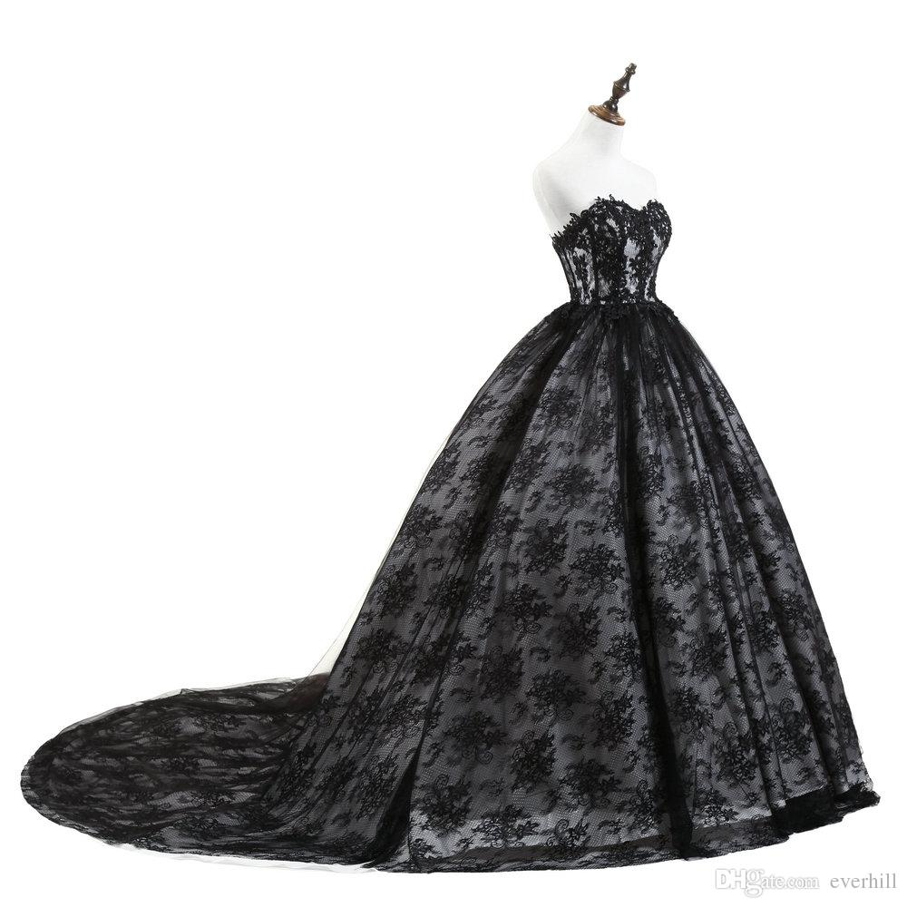 Ball Gown White And Black Lace Prom Dresses Long Sweetheart Backless Court Train Formal Evening Party Gowns Women Gala Dress 2018 Robe Dubai