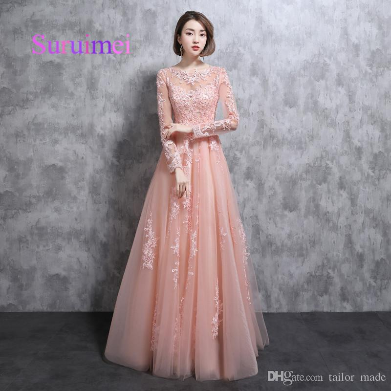 Fast Shipping Vestidos De Noiva Long Pink Evening Dresses With ...