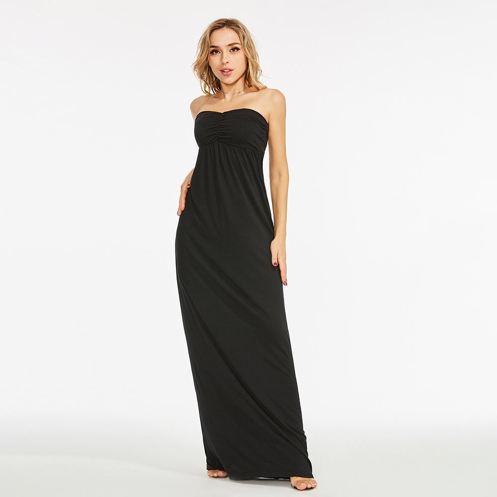 Acquista 2019 Summer Party Maxi Dress Nero Plus Size Sexy Women Abito Lungo  Senza Spalline Elegante Stile Coreano Femminile Vestito Longuette Estivo A  ... 64155152122
