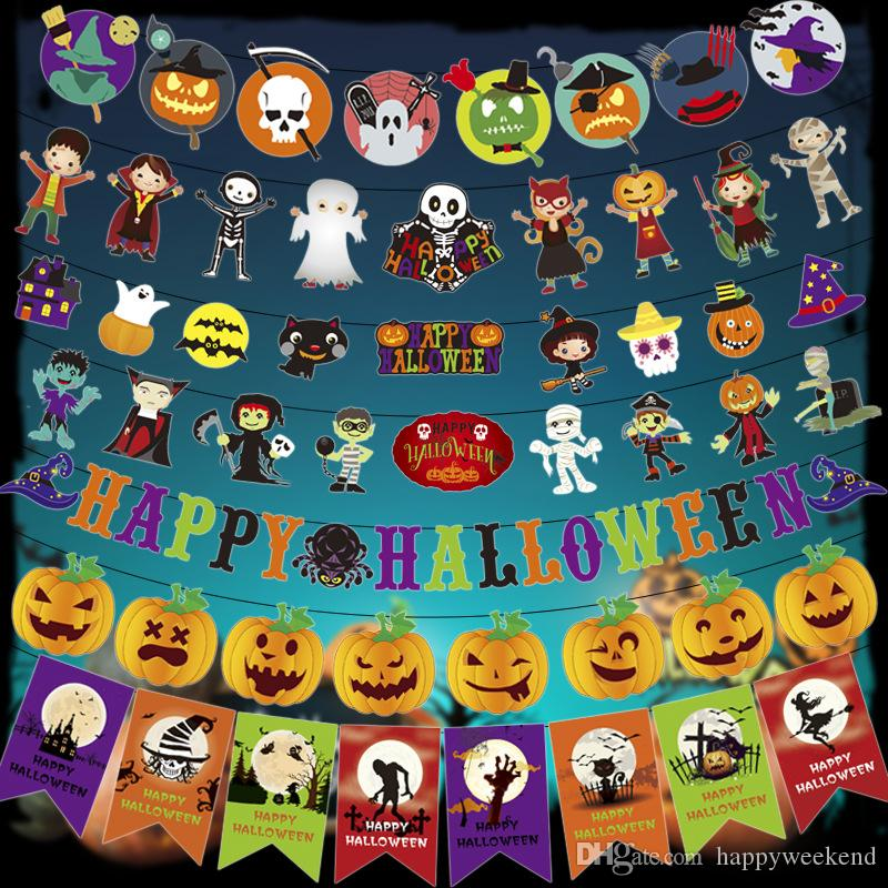 quality 300cm halloween party banner pull flags toys pumpkins witch skull backdrop bunting flags diy halloween decorations garlands