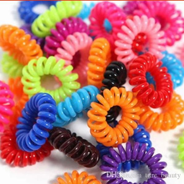 150PCS/LOT Colorful Hair Ring Tie Gum Spiral Telephone Wire Springs And Gum Elastic Ponytail Holder Hair Accessories for Girl Headband