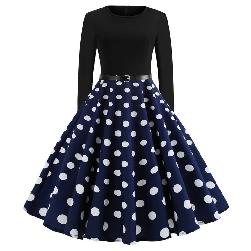 Women Retro Print Long Sleeve Dress Elegant Vintage Floral Fit Flare ...