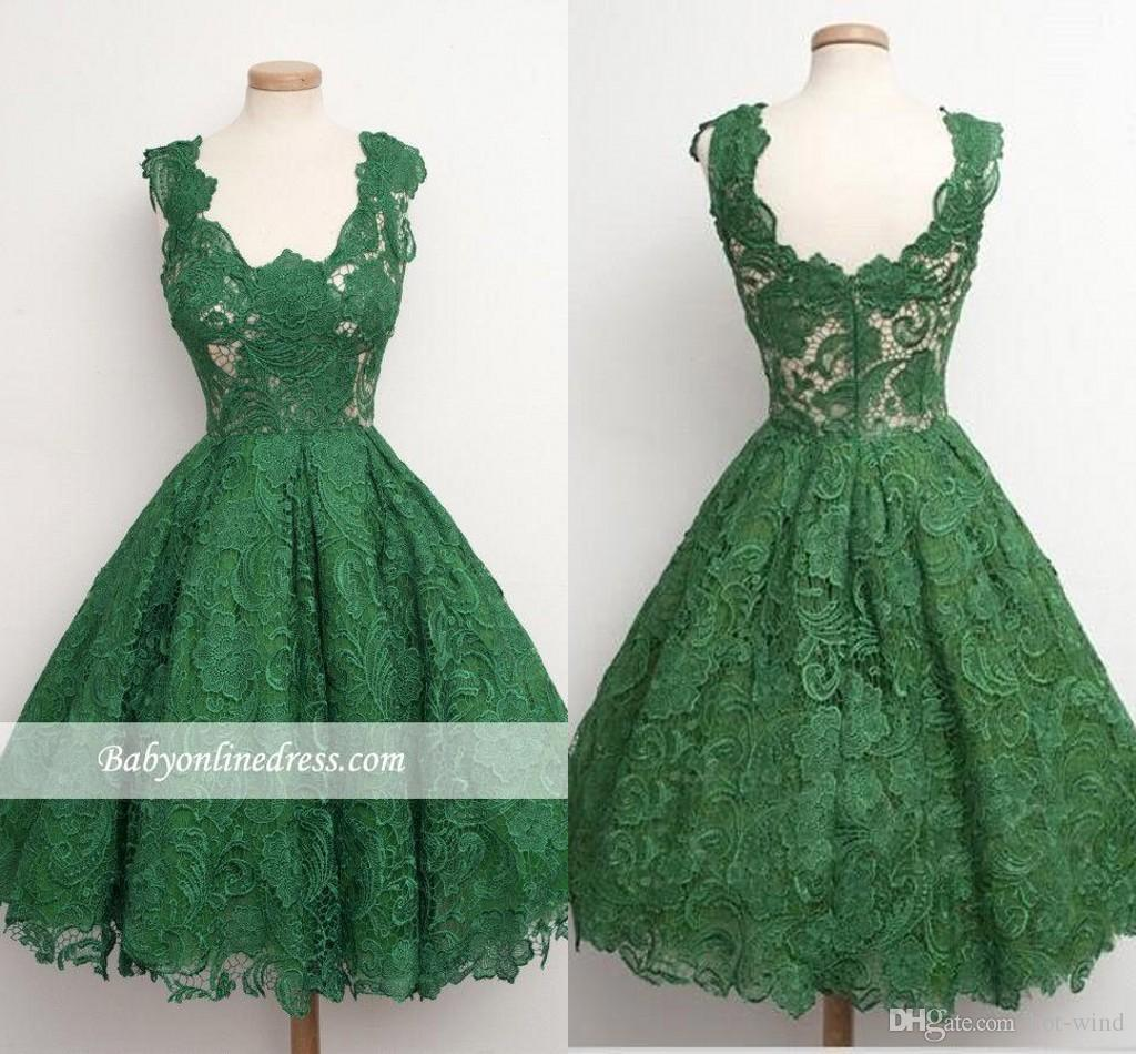 Dark Green Short Cocktail Dress