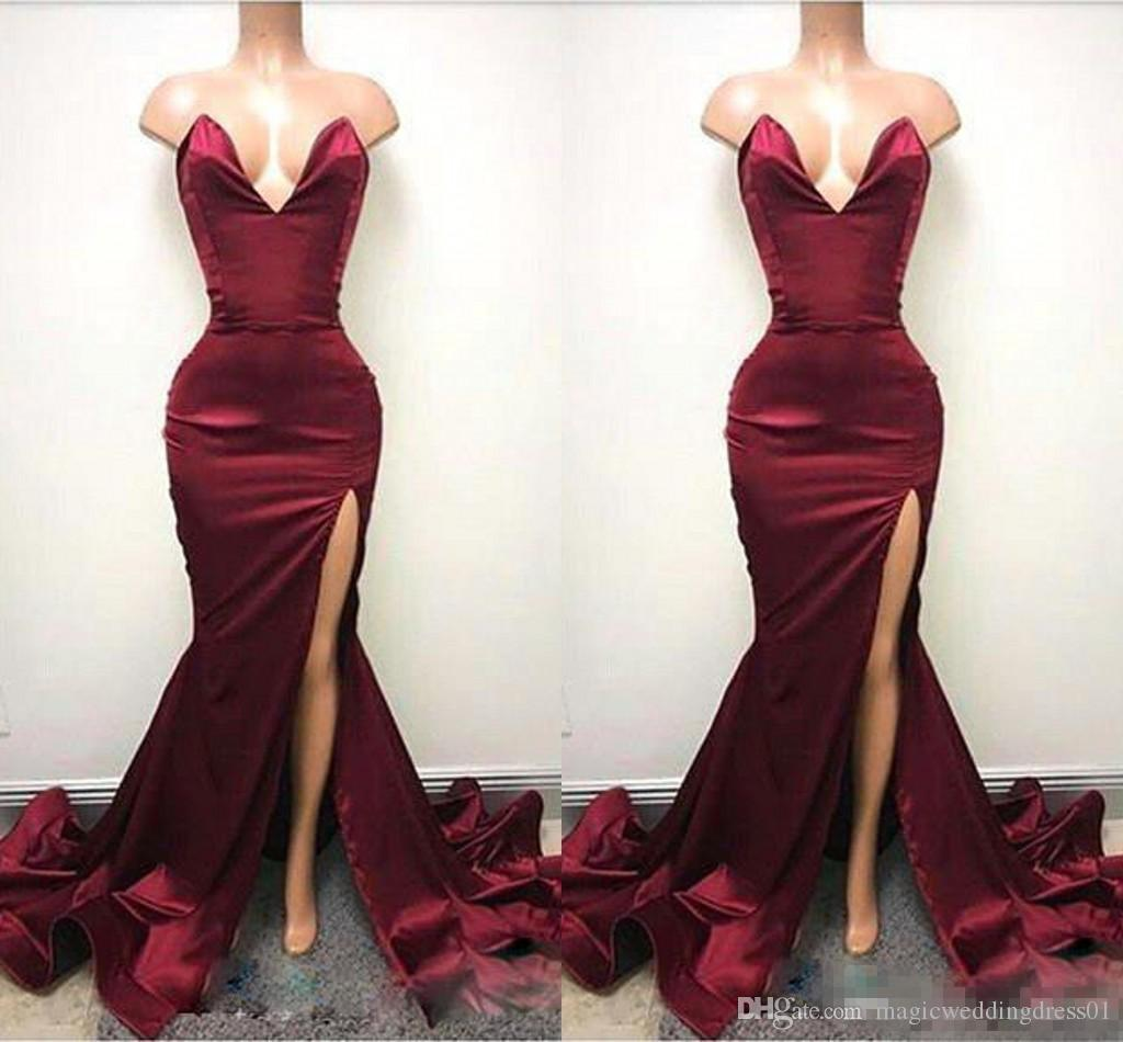 2018 Dark Red Mermaid Prom Party Dresses with High Split V Neck Evening Gowns Special Occasion Wears Cheap Simple Style Custom Made
