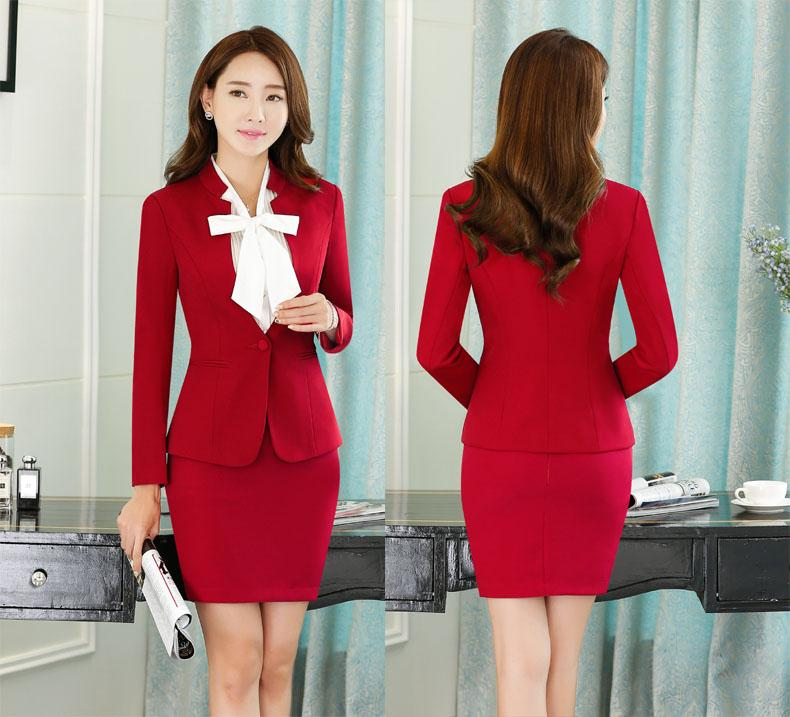 2018 Novelty Red Slim Fashion Formal Skirt Suits For Office Ladies