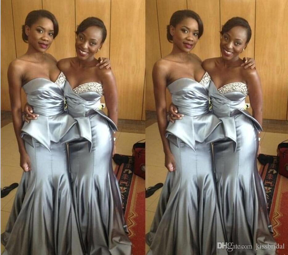 Silver Gray Prom Dresses Mermaid Satin Beading Long Prom Gowns Sweetheart Neckline Peplum Arabic Dubai Formal Dress