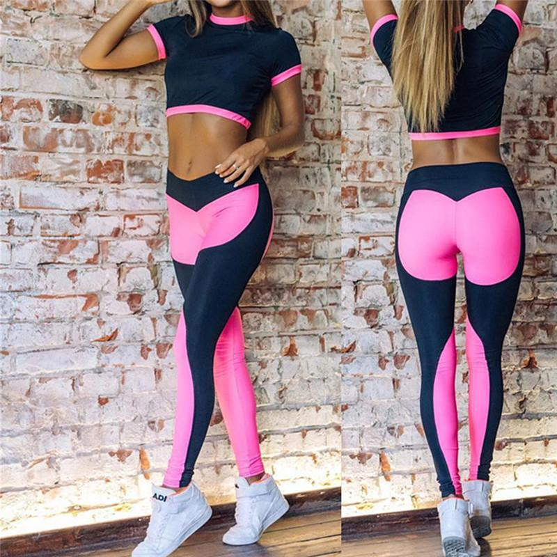 74d9698112327 2019 Hot Sale Rosy Women Yoga Sets Gym Sports Crop Tops + Elastic Patchwork  Pant Fitness Running Suit Clothing Workout Sport Wear Y1890306 From  Shenping03, ...