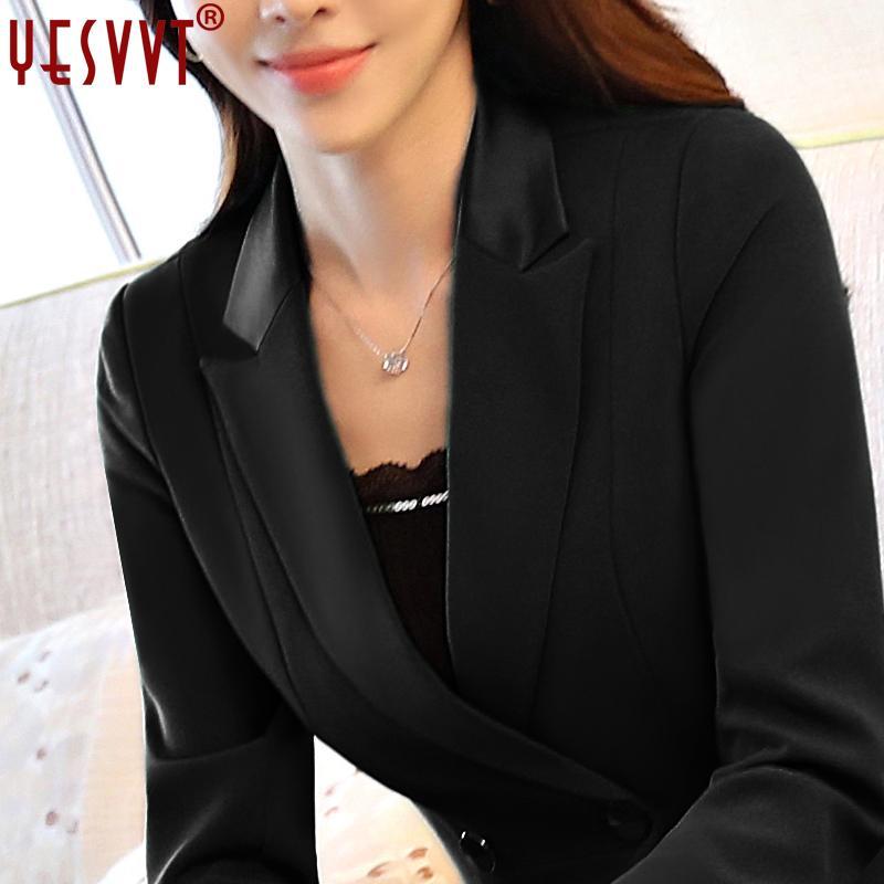 2017 nouvelles femmes blazers et vestes à manches longues veste de bureau noir simple bouton veste de costume plus la taille S M L XL 3XL 4XL