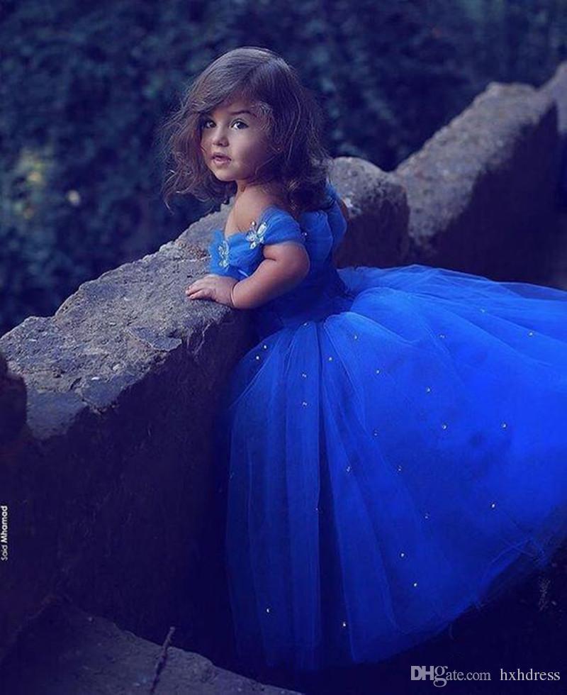 2019 Yeni Kraliyet Mavi Prenses Düğün Çiçek Kız Elbise Kabarık Tutu Sparkly Kristaller Toddler Küçük Kızlar Pageant Communion Elbise