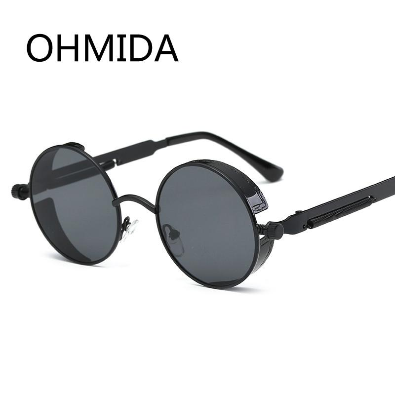 e783a79c99 OHMIDA Vintage Gothic Steampunk Sunglasses Men Coating Mirrored Women Retro Round  Circle Sun Glasses For Male Steam Punk UV400 Glasses Online Polarized ...