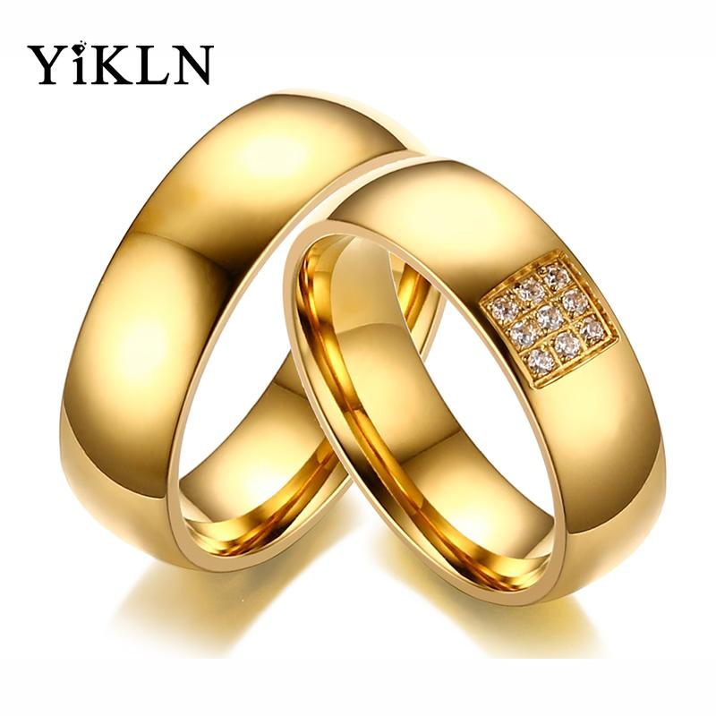 Gold Wedding Rings.Yikln Brand Couple Engagement Wedding Rings Gold Color Stainless Steel Cz Crystal Forever Love For Lovers Ring Jewelry Ycr138